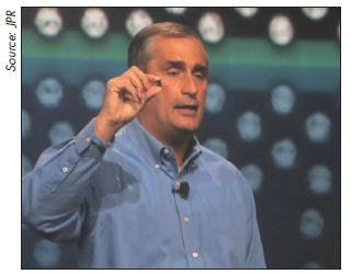 INTEL CEO Brian Krzanich shows off Intel's latest tiny thing.