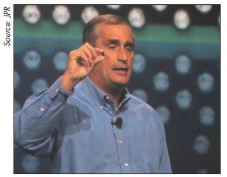INTEL CEO Brian Krzanich shows off Intel's latest tiny thing.