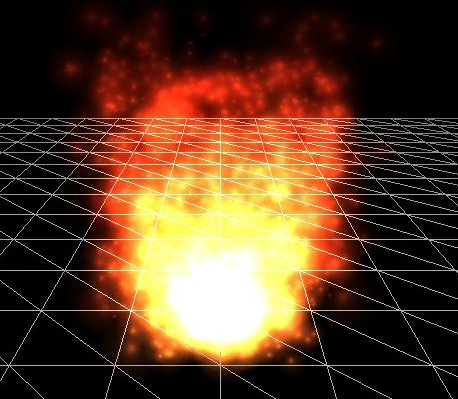Figure 2: A particle system used to simulate a fire, created in 3dengfx