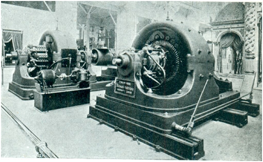Tesla's Polyphase Alternating Current 500 horse power generator at in Westinghouse Exposition (Tesla Memorial Society of New York)