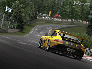 Figure 2. Screenshot of Nordschleife from the PCC 2005 Germany mod. (Source: rFactor Central)