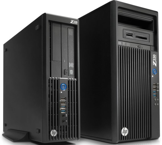 HP'S SMALL Form Factor (SFF) Z230 workstation (L) compared to the traditional mini-tower form factor (R).