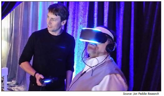 Richard Marks, the lead developer at Project Morpheus, shows Richard Doherty of the Envisioneering Group the Mars Rover in VR.